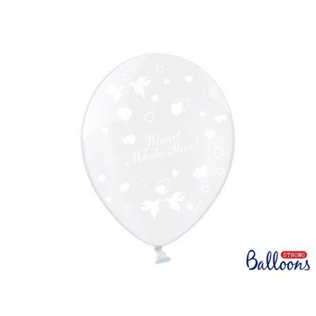 Balon lateksowy 30cm, Wiwat Młoda Para!, Crystal Clear