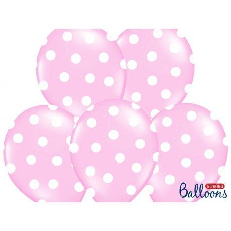Balon lateksowy 30 cm - Kropki pastel baby pink