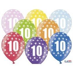Balon 30cm Dziesiątka - lateksowy, różne kolory