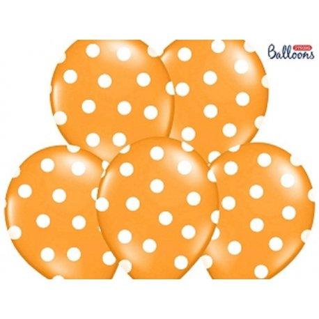 Balon lateksowy 30 cm - Kropki pastel orange