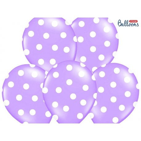Balon lateksowy 30 cm - Kropki pastel lavender blue
