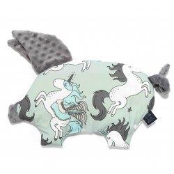La Millou - podusia Sleepy Pig - unicorn rainbow knight, grey