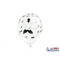 Balon lateksowy 30cm - Piłkarz i piłki, Pastel White