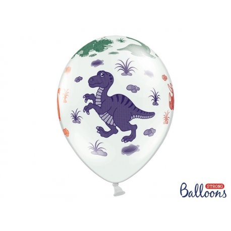 Balon lateksowy 30cm - Dinozaury, Pastel White