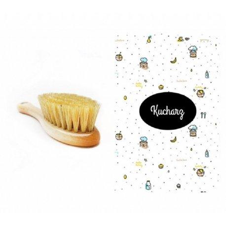 Szczotka z naturalnego włosia z muślinową myjką - Lullalove