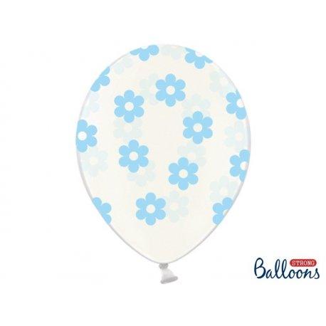 Balon lateksowy Crystal Clear 30 cm - Niebieskie kwiatki