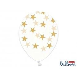 Balon lateksowy Crystal Clear 30 cm - Złote gwiazdki