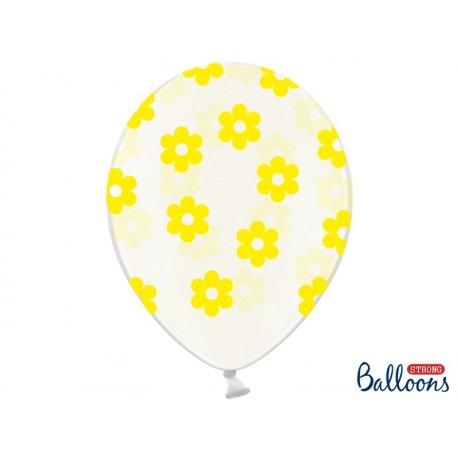 Balon lateksowy Crystal Clear 30 cm - Żółte kwiatki