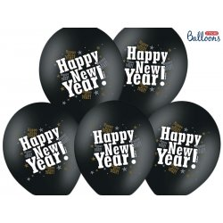 Balon lateksowy 30cm - Happy new year, Pastel Black