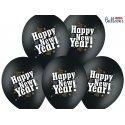 Balon lateksowy 30cm - Happy new year, Pastel Black