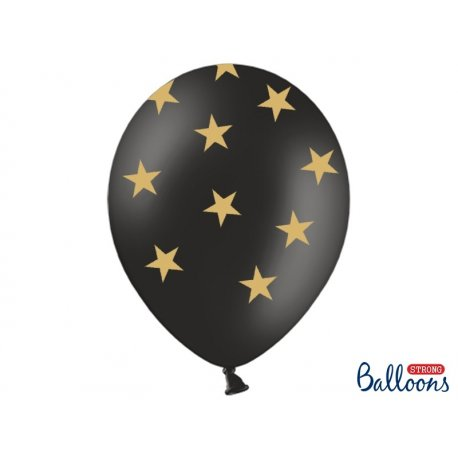 Balon lateksowy 30 cm - Złote gwiazdki, pastel black
