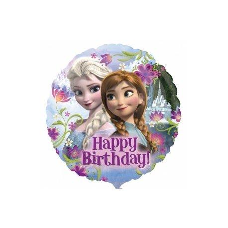 """Balon foliowy okrągły 17"""" Elza i Anna z Krainy Lodu - Happy Birthday"""