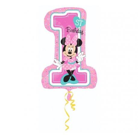 """Balon foliowy 28"""" cyfra 1 z Myszką Minnie"""
