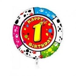 Balon foliowy Happy Birthday 1st - Pierwsze Urodziny - 18 cali
