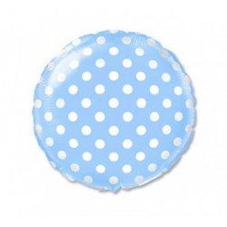 """Balon foliowy 18"""" jasnoniebieski w grochy"""