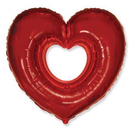 """Balon foliowy - Serce otwarte, czerowne 24"""" - Napełniony helem"""