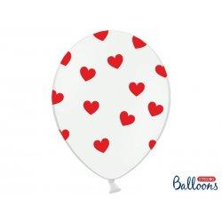 Balony lateksowy - Czerwone serduszka, Pastel pure white