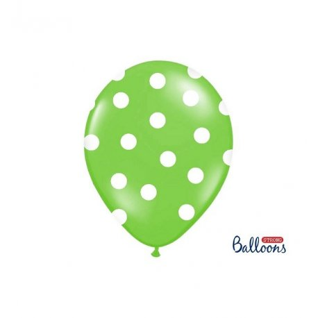 Balon lateksowy 30 cm - Kropki pastel lime green
