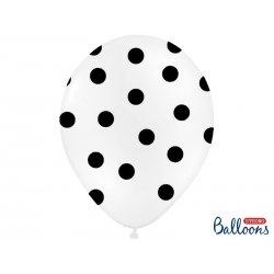 Balon lateksowy 30 cm - Kropki czarne pastel white