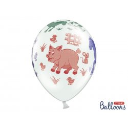 Balon lateksowy 30cm - Farma, Pastel White
