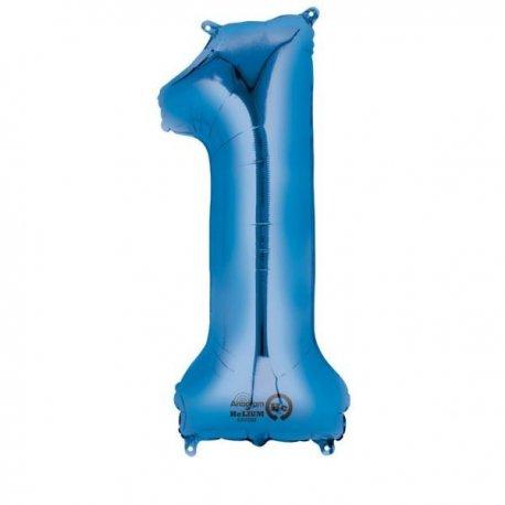 """Balon foliowy, cyfra 1 niebieska 34"""""""