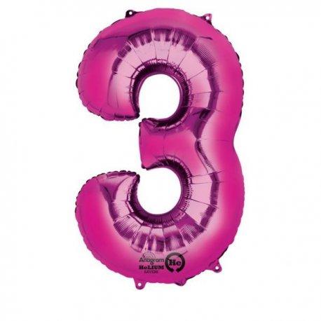 """Balon foliowy, cyfra 3 różowa 34"""""""
