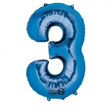 """Balon foliowy, cyfra 3 niebieska 34"""""""