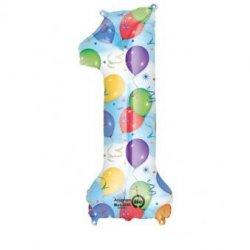 Balon foliowy, cyfra 1 kolorowa 34 cale
