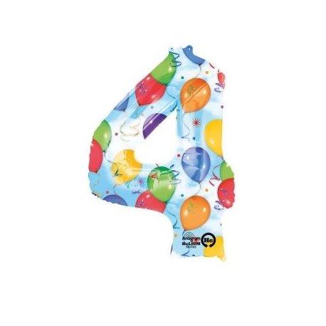 """Balon foliowy, cyfra 4 kolorowa 34"""""""