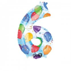 Balon foliowy, cyfra 6 kolorowa 34 cale