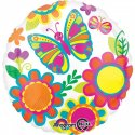 """Balon foliowy 17"""" motyl i kwiaty"""