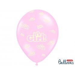 Balon lateksowy 30 cm - It's a girl - różowy