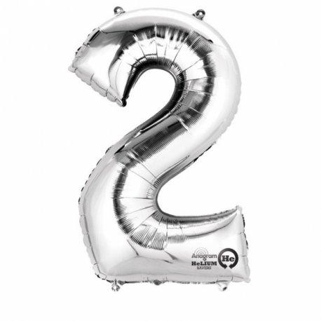 """Balon Foliowy 40"""" Cyfra 2 SREBRNA"""