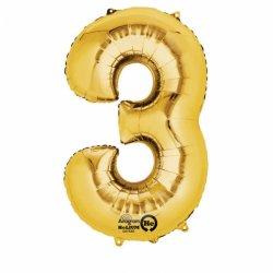 """Balon Foliowy 34""""(cale) Cyfra 3 ZŁOTY - na hel"""