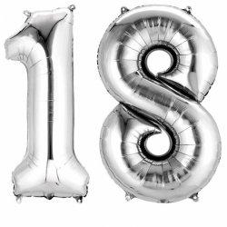 Balony 18 srebrne - dekoracje na 18-te urodziny 88cm wysokie