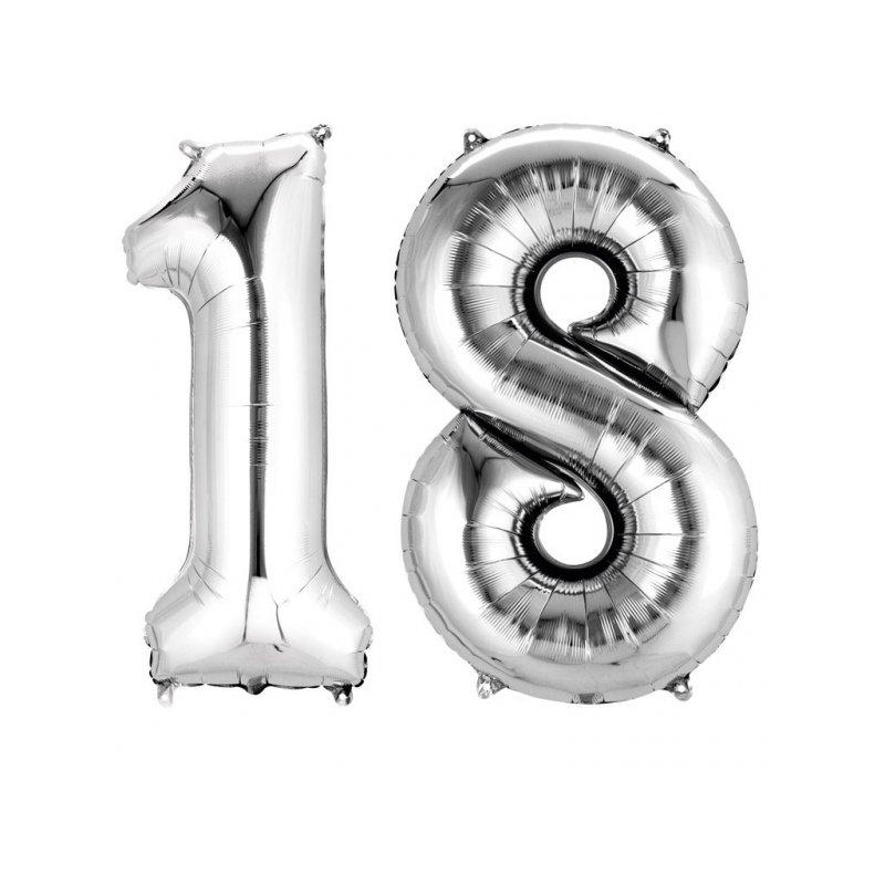 Balony 18 Srebrne Dekoracje Na 18 Te Urodziny 88cm Wysokie