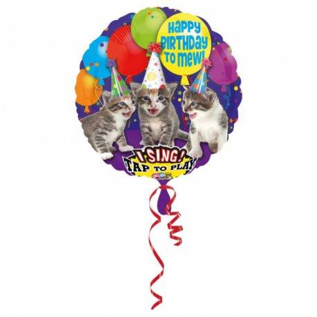 """Balon Foliowy KOTY grający - Happy Birthday """"miał"""""""