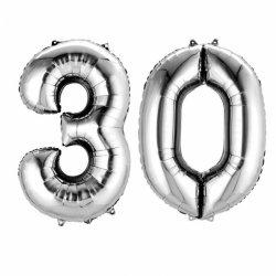Balony 30 srebrne - 88 cm wysokie - dekoracje na 30-te urodziny