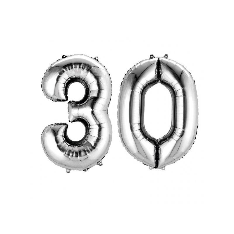 Balony 30 Srebrne 88 Cm Wysokie Dekoracje Na 30 Te Urodziny