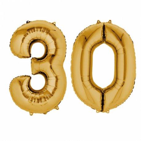 Balony 30 złote - 88 cm wysokie - dekoracje na 30-te urodziny