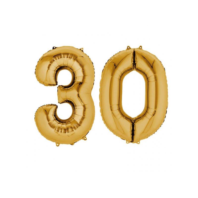 Balony 30 Złote 88 Cm Wysokie Dekoracje Na 30 Te Urodziny