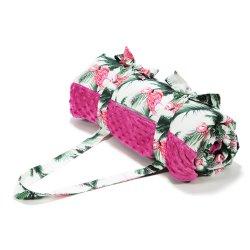 Koc Picnic z kieszonką, Mata do zabawy XL - Aruba's pink flamingos - La Millou