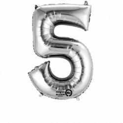 Balon Foliowy Cyfra 5 Srebrny 58x86cm