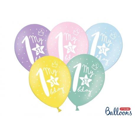 Balon 30cm Jedynka - lateksowy, różne kolory pastel