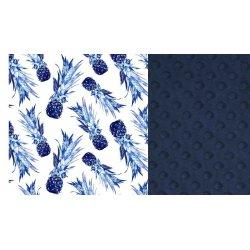 Koc Picnic z kieszonką, blue pineapples navy, La Millou