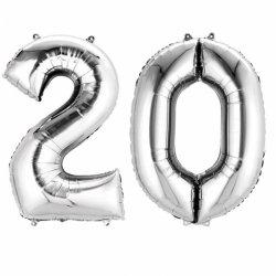 Balony cyfry 2 i 0 srebrne - 88cm - dekoracje na 20-te urodziny