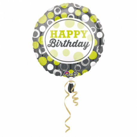 """Balon 17"""" Happy birthday zielony"""