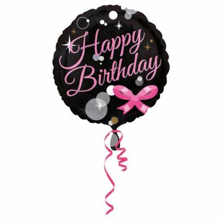 """Balon foliowy 18"""" Happy birthday czarno-różowy"""