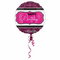 """Balon foliowy 17"""" Happy birthday różowo-biało-czarny"""
