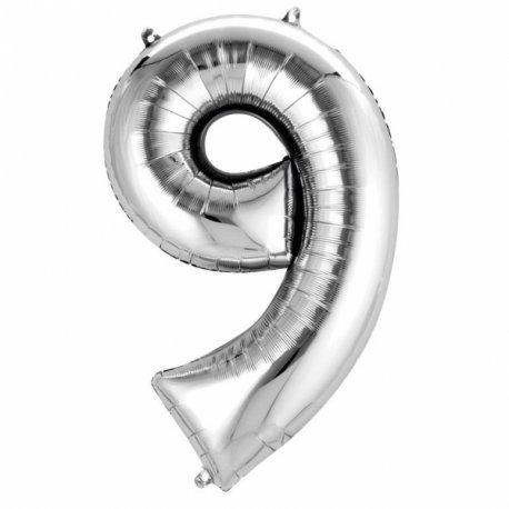 Balon Foliowy Cyfra 9 Srebrna 50x88 cm